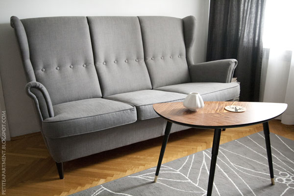 Ikea Strandmon Svanby Grey three-seat sofa, Lovbacken side table and Gislev rug