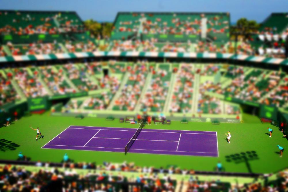 Jogo de tênis - efeito tilt shift