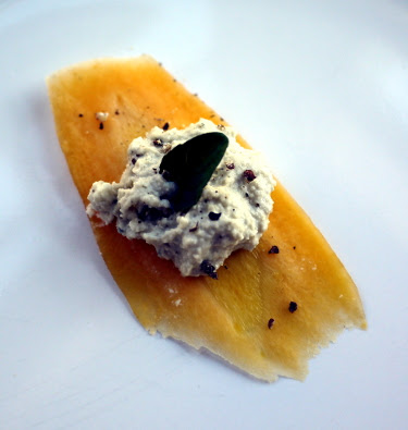 Farmer's market yellow heirloom carrot with oregano-shallot cashew cheese and cracked black pepper