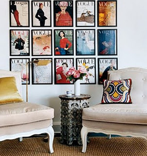 framed vintage magazine covers make great wall art search thrift stores or ebay for vintage fashion magazines then frame the covers and voila