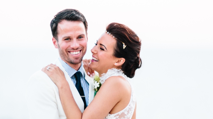 gorgeous bride and groom laughing photo by STUDIO 1208