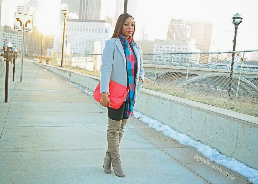 casual chic outfit, jewels with style, how to wear over the knee boots, red clutch purse, plaid scarf outfit, gray boyfriend coat, cute comfortable outfit