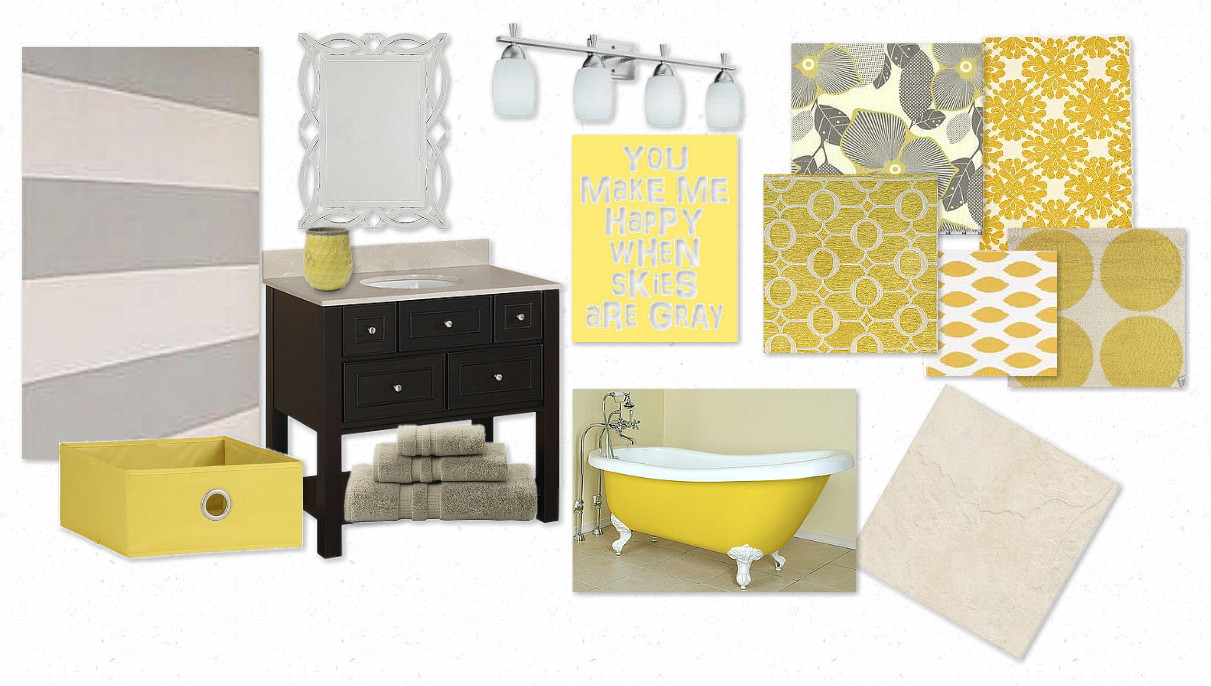 Yellow and gray bathroom accessories black white and for Bright yellow bathroom accessories