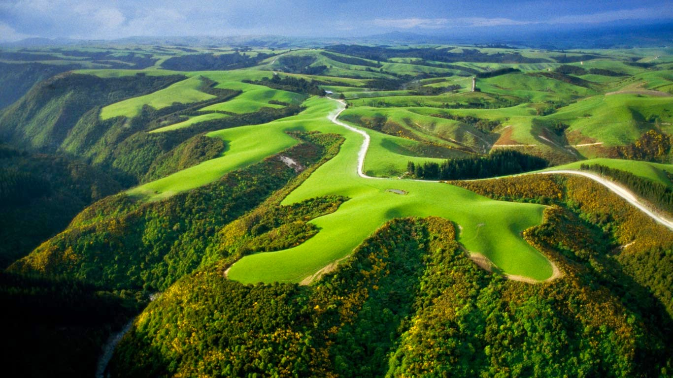 Aerial view of farmlands, North Island, New Zealand (© Paul Chesley/Alamy) 20