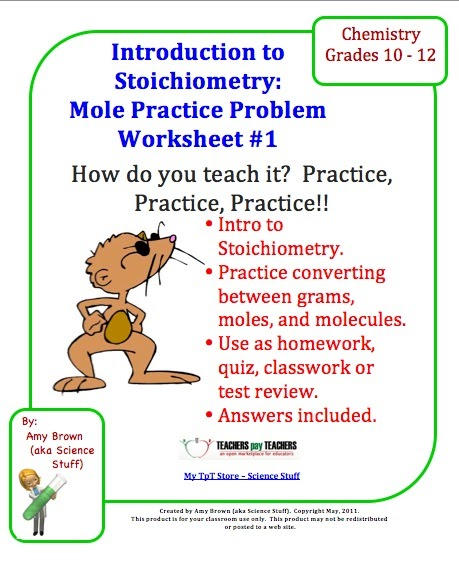 classroom freebies practice problem worksheet for stoichiometry and moles. Black Bedroom Furniture Sets. Home Design Ideas