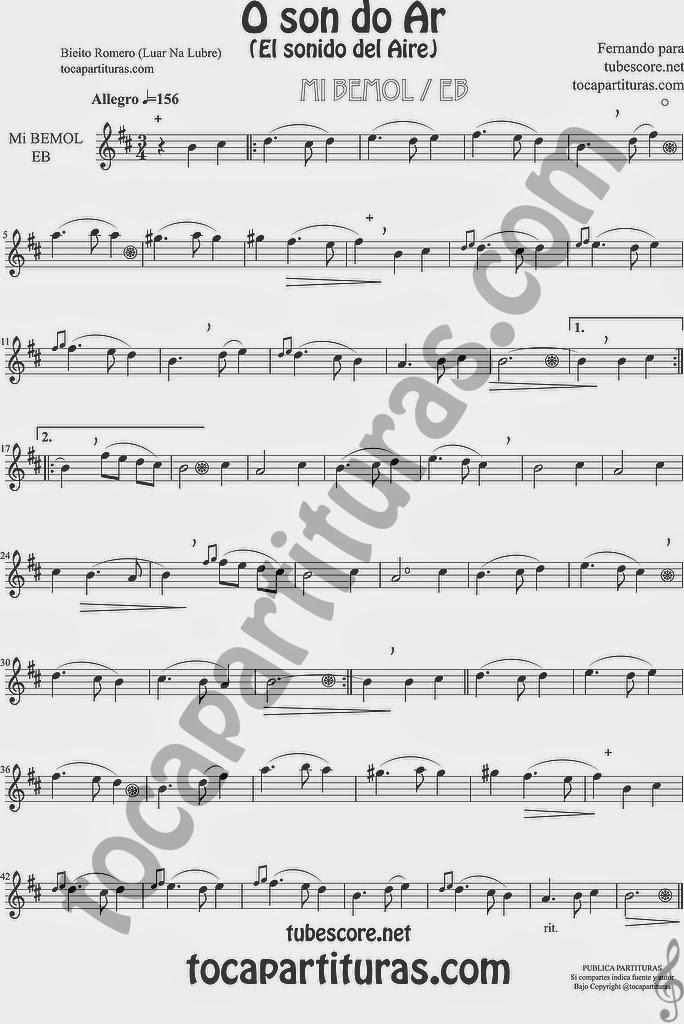 Versión Partitura en clave de sol para saxo alto, barítono, corno o trompa en Mi bemol