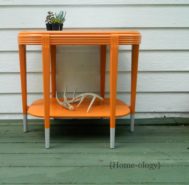 paint dipped table in orange and gray