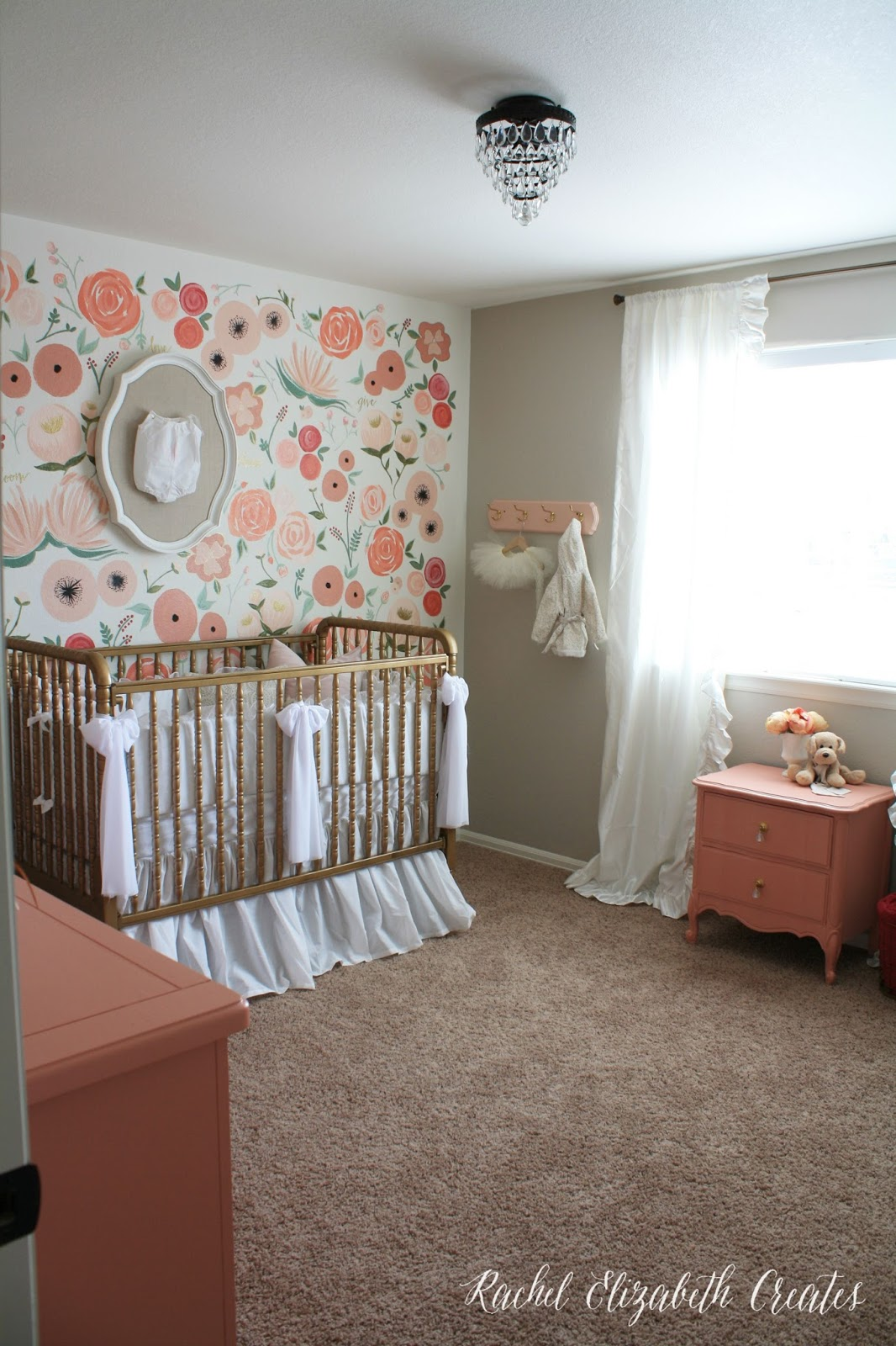 Baby girl nursery hand painted floral wall mural rachel baby girl nursery hand painted floral wall mural amipublicfo Image collections