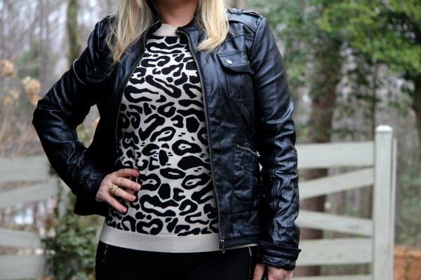 Animal Print Sweater from Forever 21 and Faux Leather Jacket from Collection B