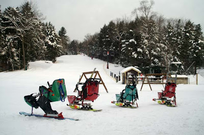 Adaptive ski equipment at Double H Ranch's ski slope in Lake Luzerne, NY.   The Saratoga Skier and Hiker, first-hand accounts of adventures in the Adirondacks and beyond, and Gore Mountain ski blog.