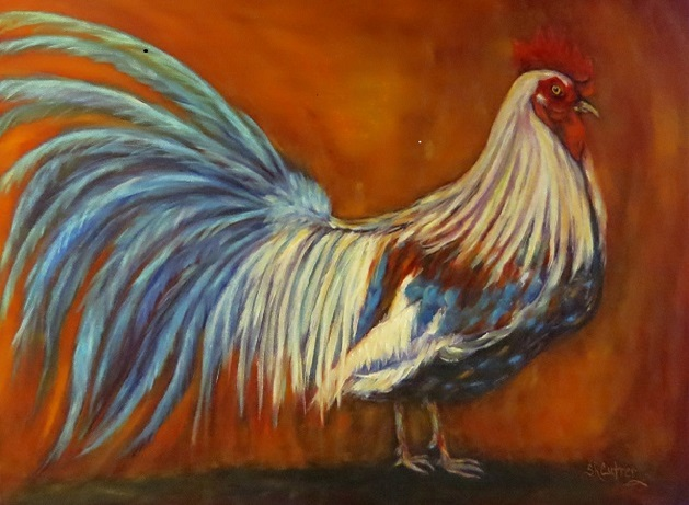 Plume and Pomp Rooster in oils $159.00 plus $22.00 ship & ins