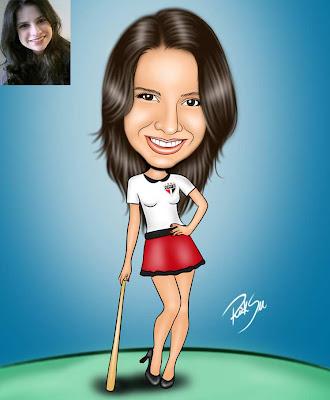caricatura da colunista michelle do site donas da bola