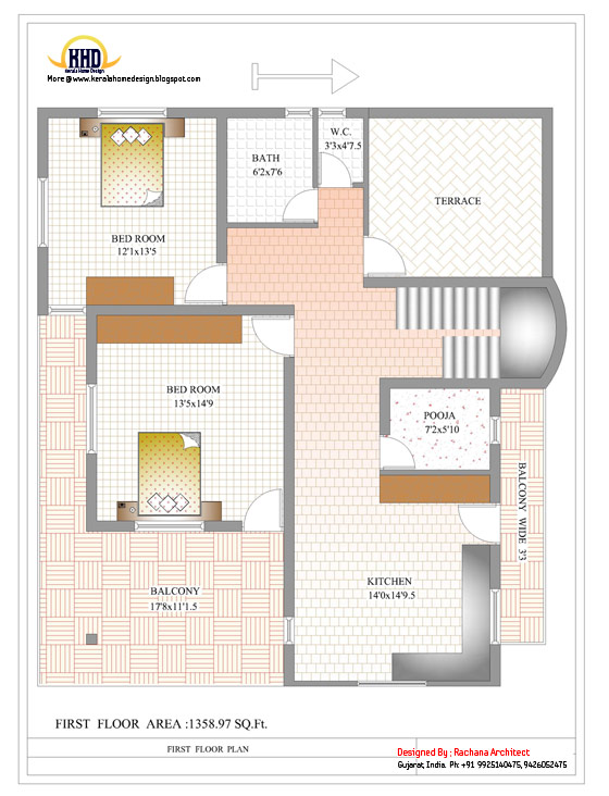 Duplex House First Floor Plan - 2878 Sq. Ft. (267 Sq M) - March 2012