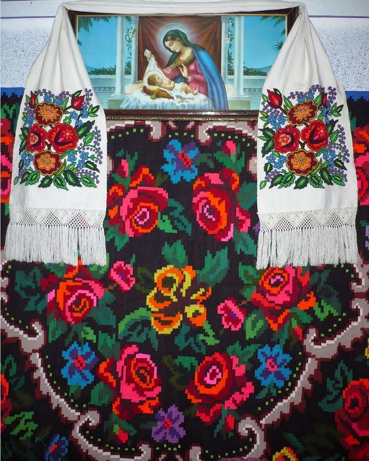 Rose embroidery, rose rug/textiles