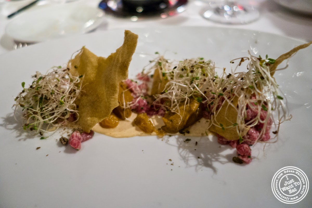 image of steak tartare at Dovetail in New York, NY