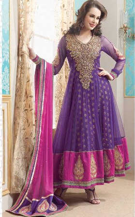 Purple-and-Pink-Churidar-Salwar-Kameez