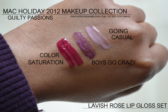 mac holiday 2012 makeup collection guilty passions mini kits lipgloss lavish rose indian darker skin beauty blog swatches cremesheen dazzleglass boys go crazy demure going casual colour saturation