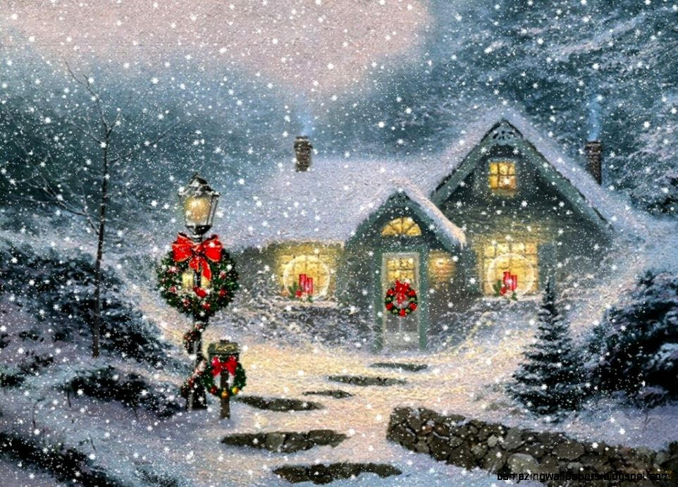 Christmas wallpaper Thomas kinkade and Christmas scenes on Pinterest
