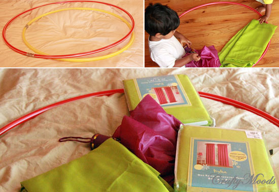 Make a Childrenu0027s Play Tent with a Hula Hoop u0026 Curtains! : play tent pattern - memphite.com