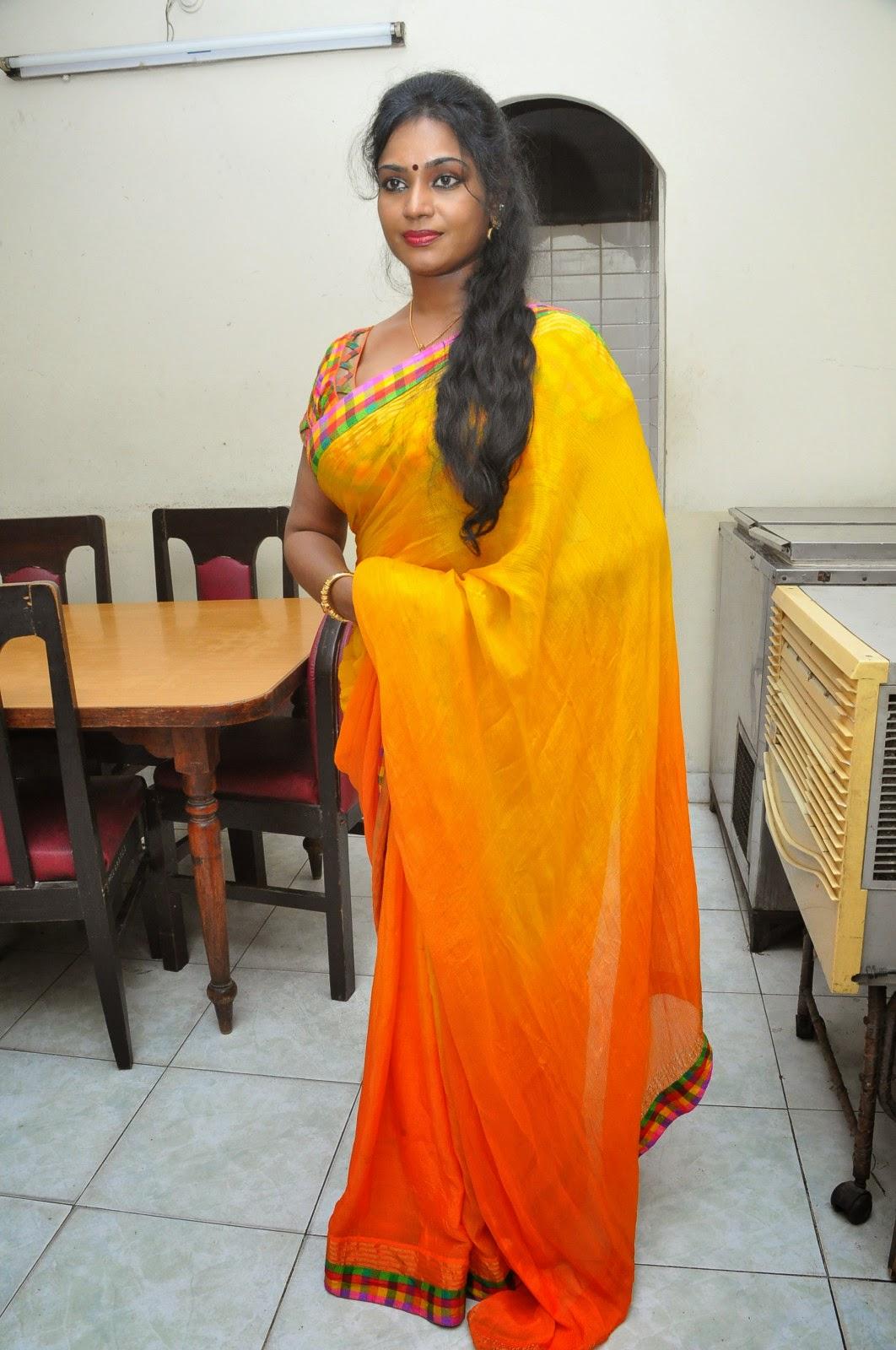 Jayavani glam pics in saree-HQ-Photo-17