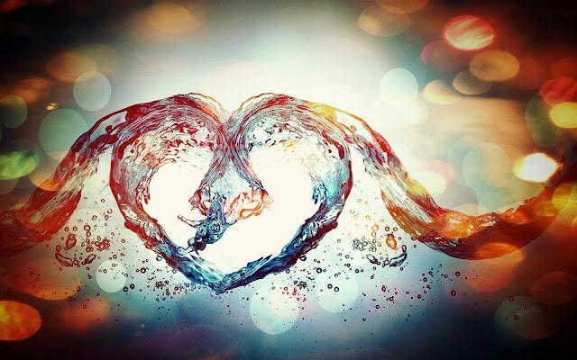 Wallpaper met een liefdes hartje gemaakt van water