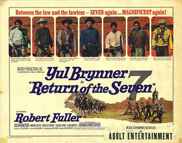 Return Of The Seven Movie Poster, Starring Yule Brynner, Warren Oates, and Claude Akins