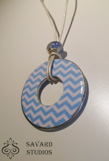 Blue Chevron Decoupage Washer Necklace