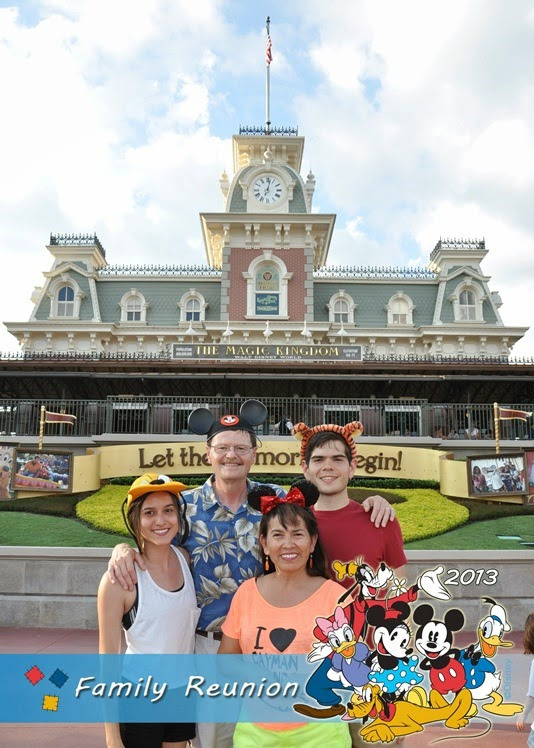 Family photo in front of the main entrance train station.