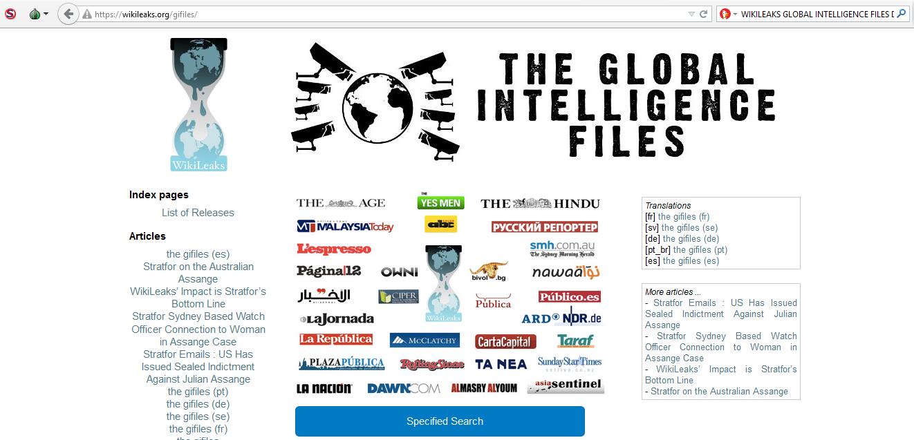Josh Wieder, Wikileaks, Global Intelligence Files