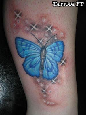 Tatuagem com Borboleta azul no Braço