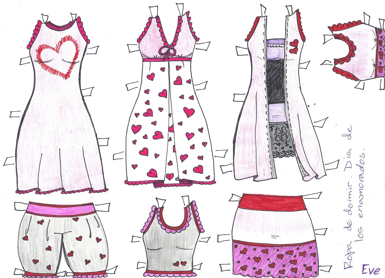 PAPER DOLL EVE~: Bella The Paper Doll. Valentines Sleep Wear. Ropa ...