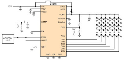 MCP34845 6 Channel LED Driver