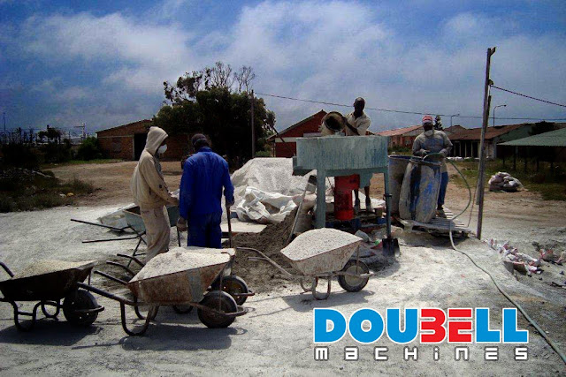 Doubell Panmixer mixing for concrete bricks