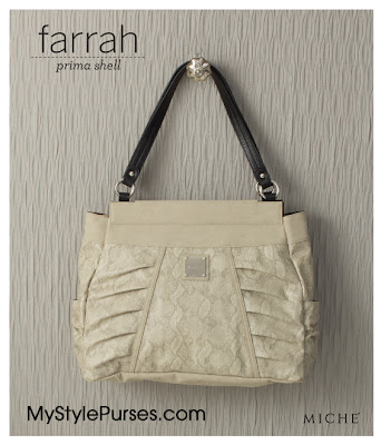 Miche Bag Farrah Prima Shell, Almond Snakeskin Purse