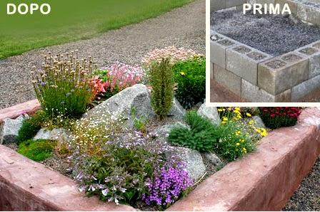 Aiuola con sassi o blocchi cemento fai da te da giardino for Aiuole giardino con sassi