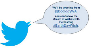 We'll be tweeting from @EcologyWA. You can follow the stream of wishes with the hashtag #EarthDayWish