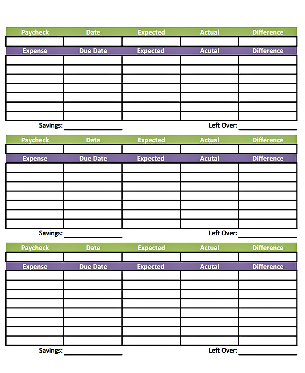 Livinu0027 Paycheck To Paycheck   Free Printable Budget Form  Printable Expense Sheet