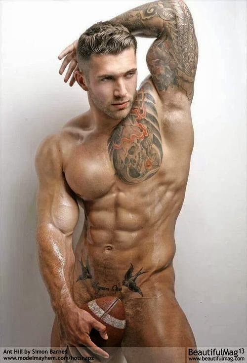 Tattooed Football Trimmed Jock Armpits