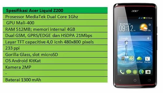 Spesifikasi Acer Liquid Z200
