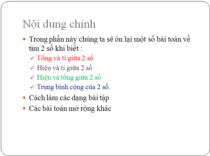 Các bài tập về tìm hai hay nhiều số khi biết tổng, hiệu và tỉ số - toán lớp 5(2)