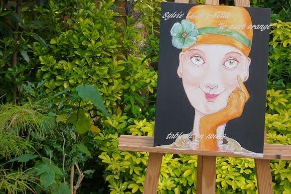 Le Gant orange - peinture acrylique de Sylvie Lucien-Velde prise dans le jardin