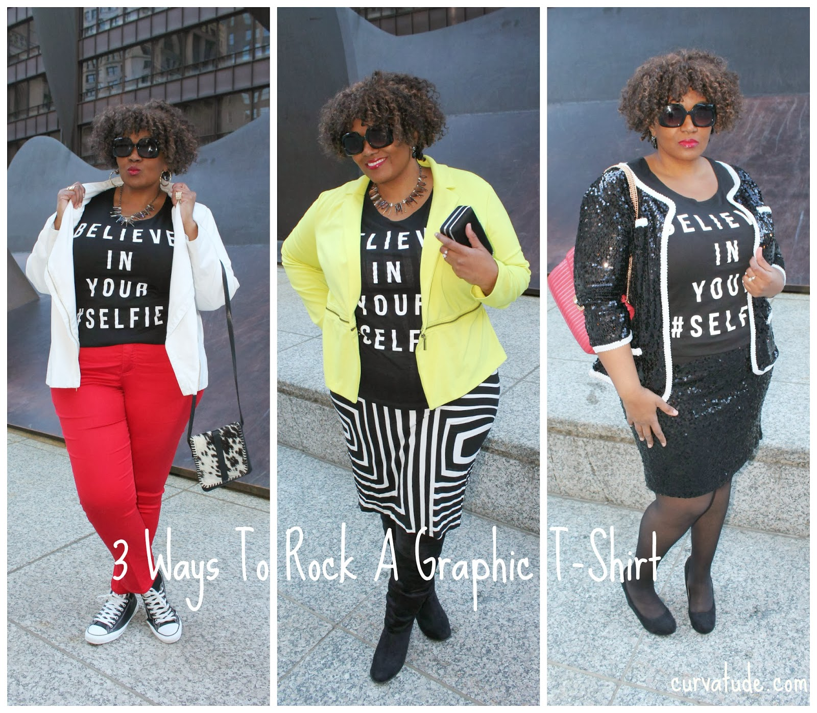 3 Ways to wear a graphic t shirt from casual to mixed prints to dressy