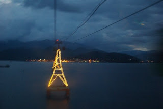 Teleferico of Nhatrang lit at night