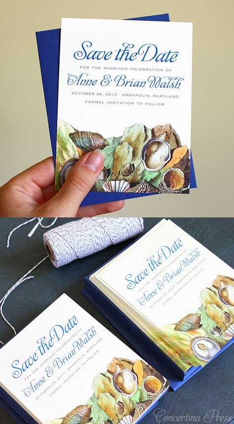 Tide Pool Save the Date in Blue by Concertina Press