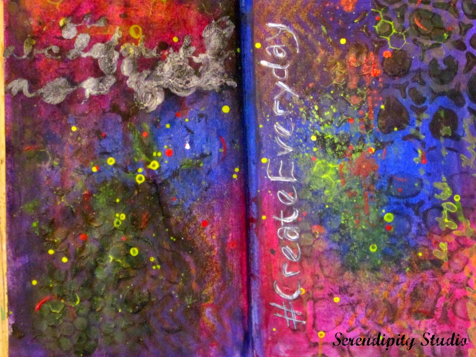 #createeveryday, art journal page, DecoArt, Media Line misters