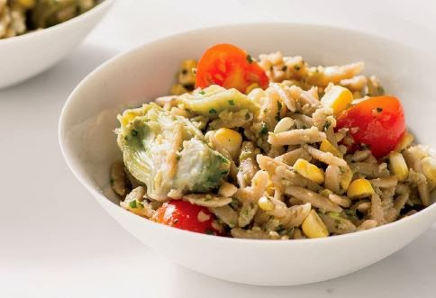 whole-wheat orzo with artichoke Pesto