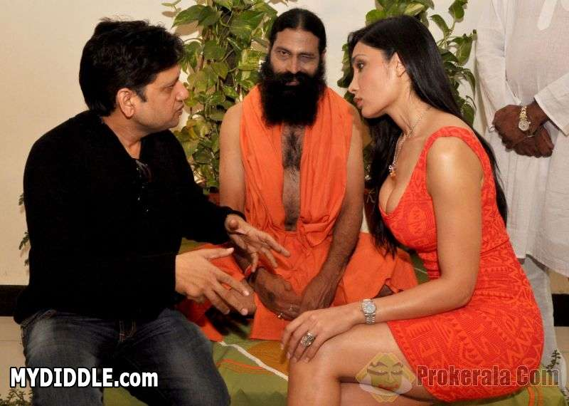 1 - Model Actress Sofia Hayat with baba ramdev