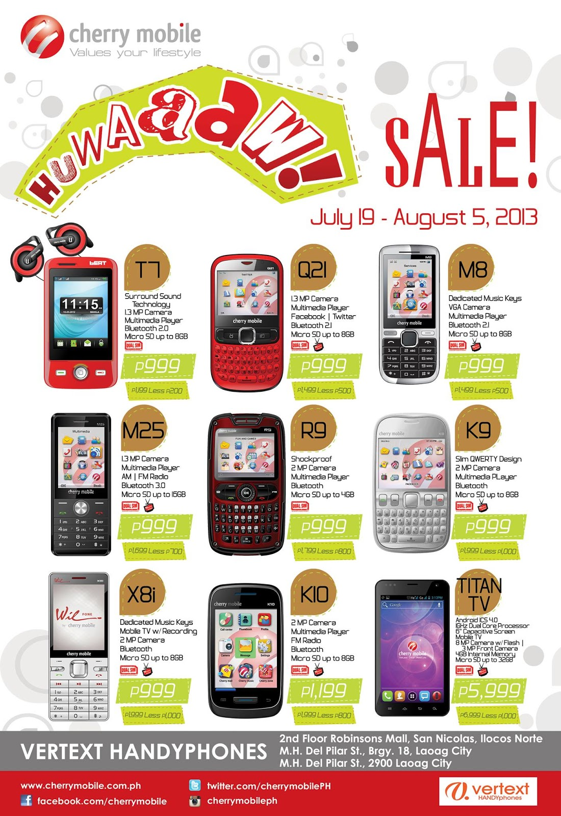 Cherry mobile huwaaw sale at vertex handyphones from for Discount del mobile