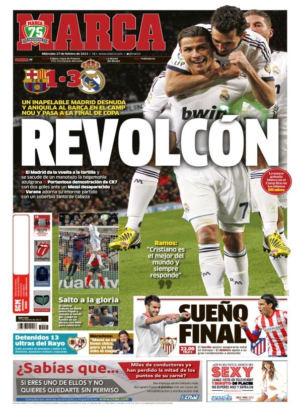 Real madrid tv barcelona 1 real madrid 3 portadas de for Madrid sevilla marca