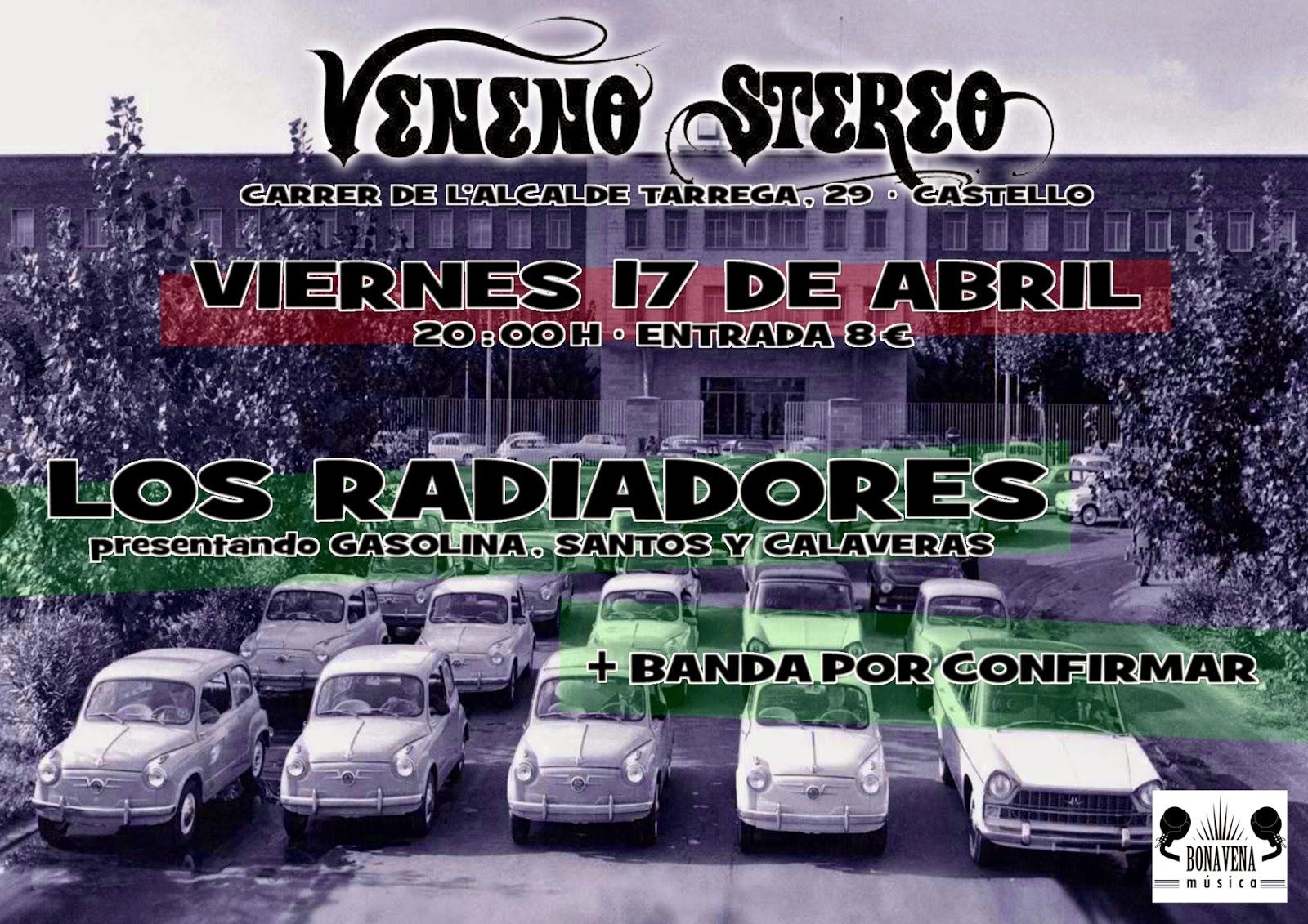 """Presentación de """"Gasolina, santos y calaveras"""" de Los Radiadores en Veneno Stereo, Castellón, el 17 de abril."""